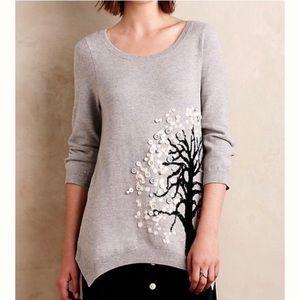 Anthropologie Monogram Buttontree Tunic Sweater